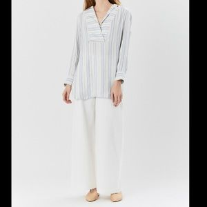 CO Popover Striped Oversized Tunic Blouse